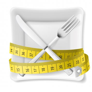 Square plate with measuring tape and crossed fork and knife. Diet concept clip art vector