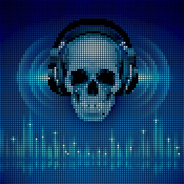 Skull in headphones.