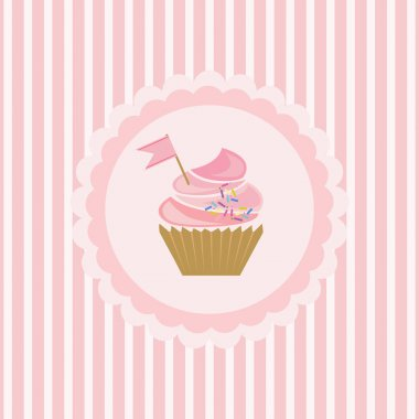 Background with cupcake and decoration stock vector