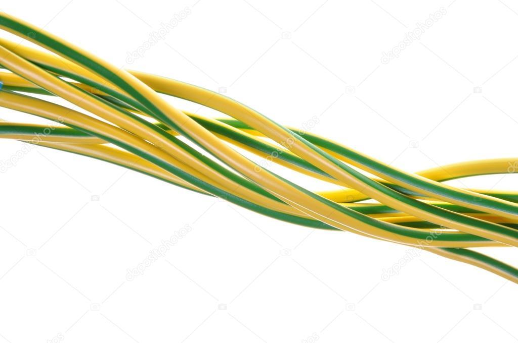 gelb grün elektrische Erdung Kabel — Stockfoto © Zetor2010 #20563387