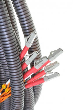 Optical patch cords in protective corrugated pipe
