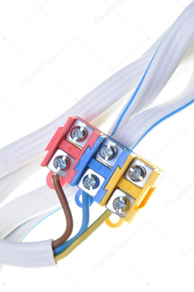 Installation elektrische Kabel mit Anschlussblock — Stockfoto ...