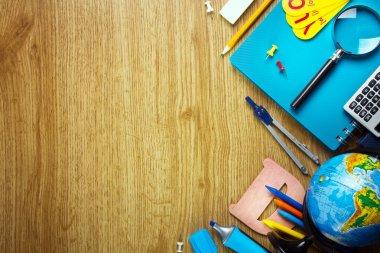 Background of school supplies