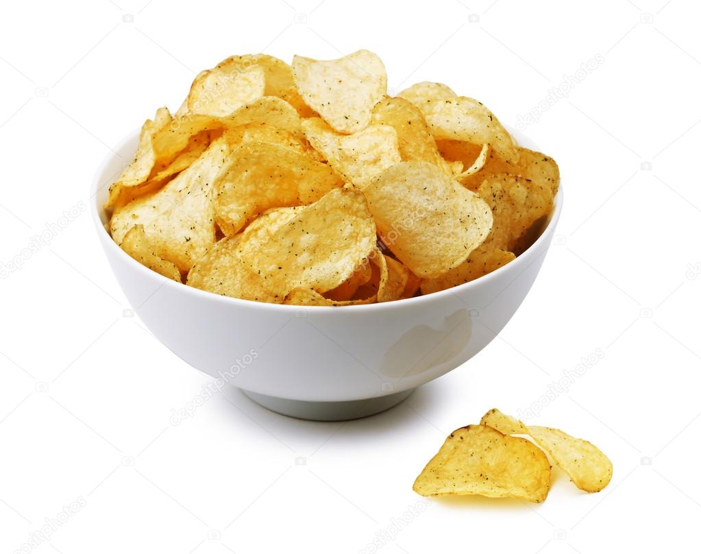 Potato chips bowl isolated on white, clipping path included