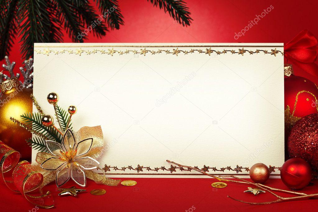 marco de Navidad para tarjetas de felicitación con ornamentos ...