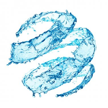 Blue swirling water splash isolated on white background