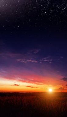 Sunset in the field and the stars