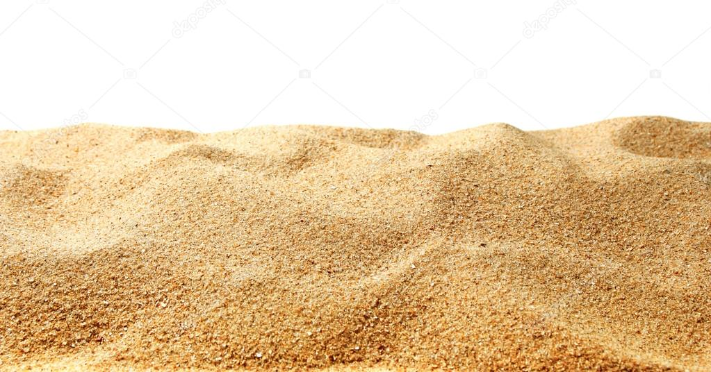 Sand dunes isolated on white background