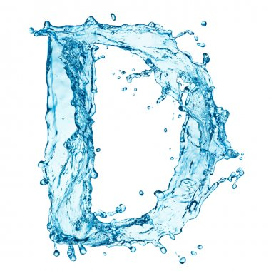 Water splashes letter D