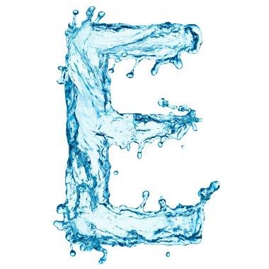 Water splashes letter E