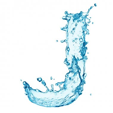 Water splashes letter J