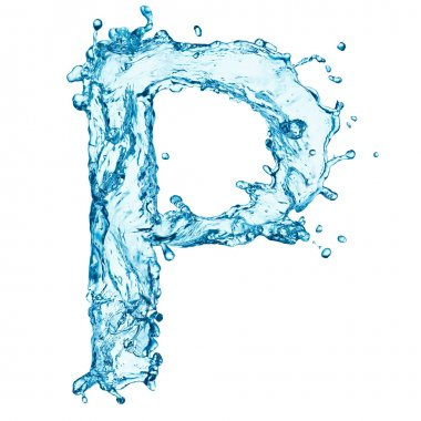Water splashes letter P