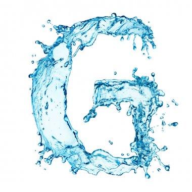 Water splashes letter G