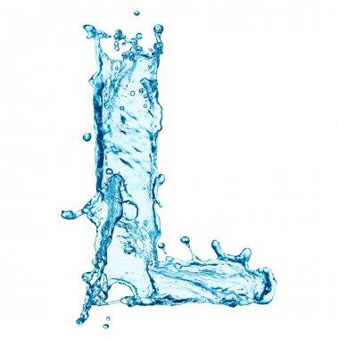 Water splashes letter L