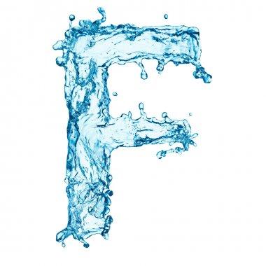 Water splashes letter F
