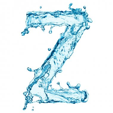 Water splashes letter Z