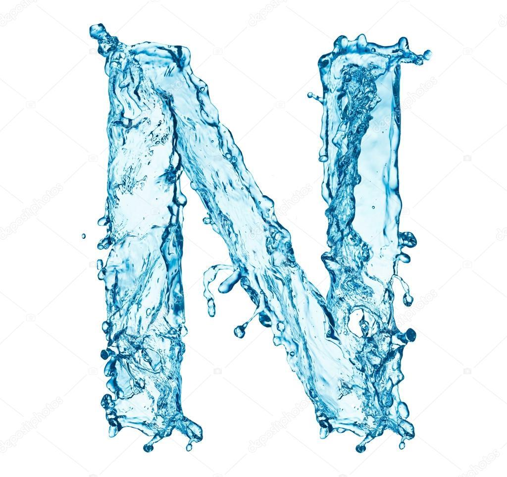Water splashes letter N