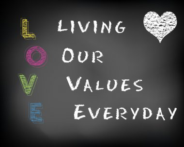 Conceptual LOVE acronym written on black chalkboard blackboard. Living our values everyday. Slide template.