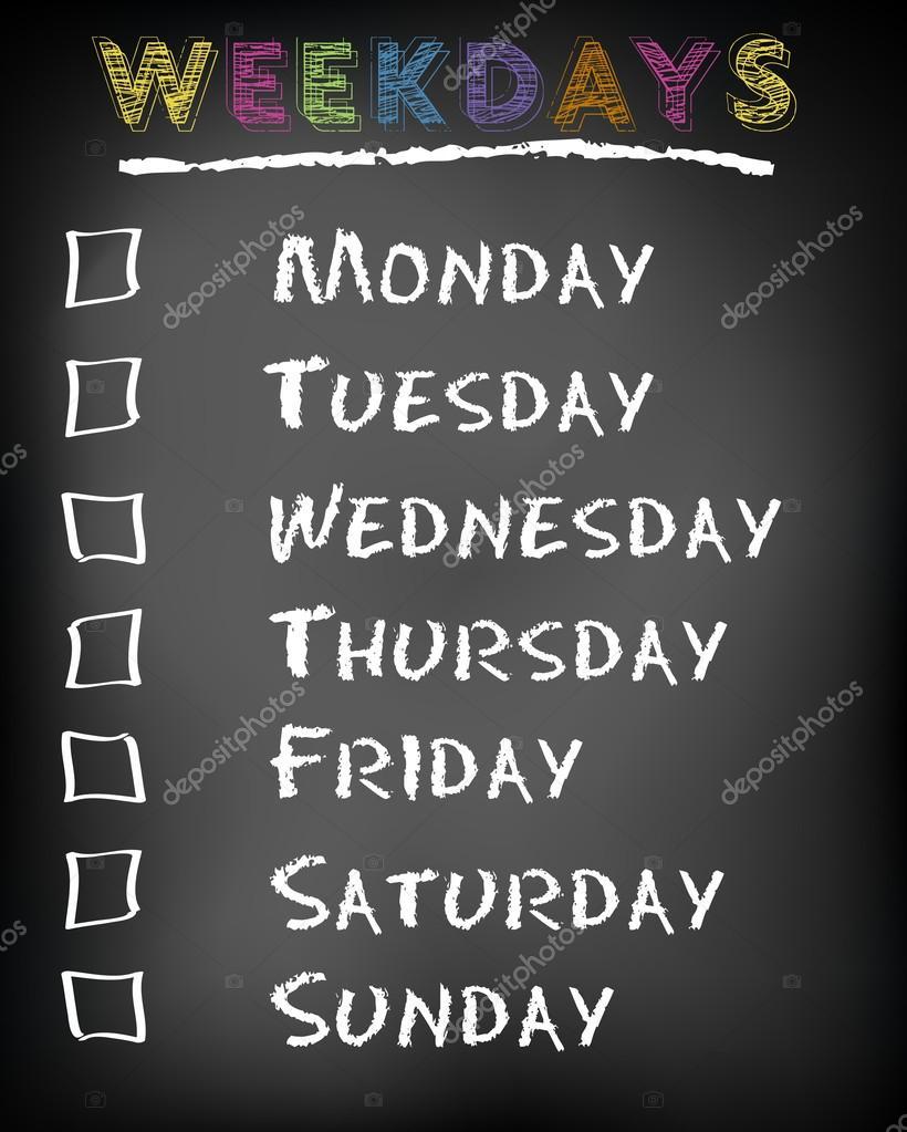 2cc2d3f68e59 Conceptual weekdays list written on black chalkboard blackboard. Monday  Tuesday Wednesday Thursday Friday Saturday Sunday.– stock image