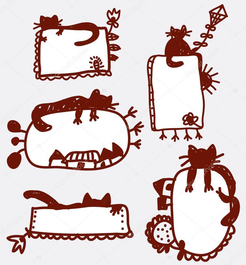 Marcos divertidos Doodle — Archivo Imágenes Vectoriales © Tasia12 ...