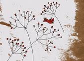 Grunge Hintergrund mit Vögeln und Blume