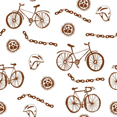 Bycicle funny seamless pattern grunge