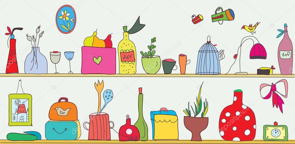 La Cocina Divertida   Estante De La Cocina Divertida Con Utensilios Vector De Stock