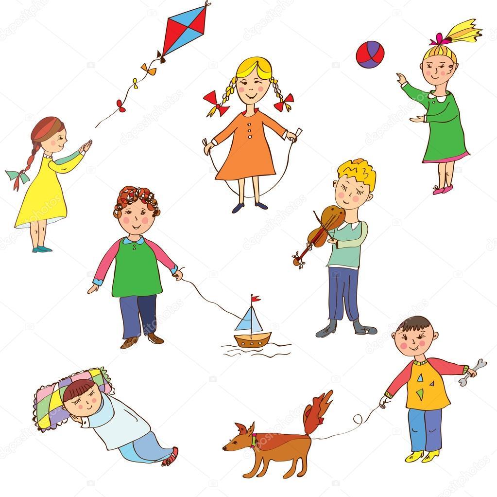 Bambini Che Giocano A Simpatici Cartoni Animati Vettoriali Stock