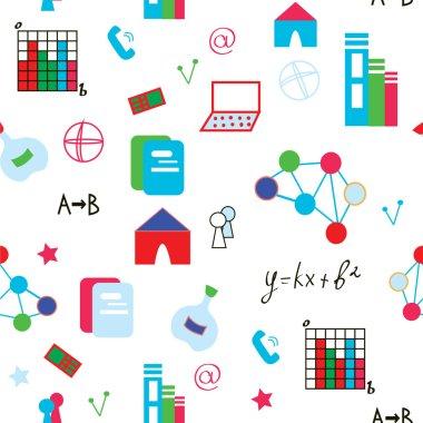 Science symbols seamless pattern funny