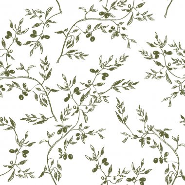 Seamless olive branch pattern hand drawn