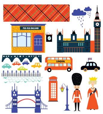 London landmarks and symbol set funny design