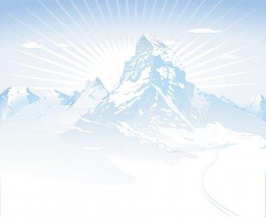 Snowy mountains stock vector