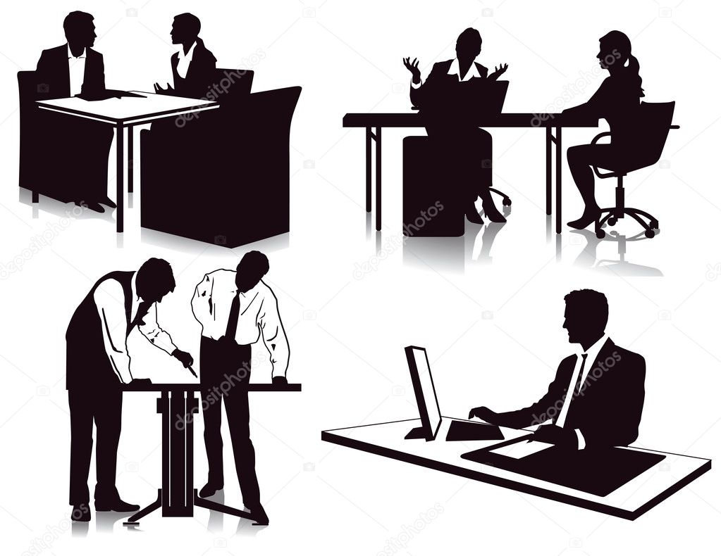 Working in the office — Stock Vector © scusi0-9 #19054283
