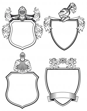 Knight shields and crests