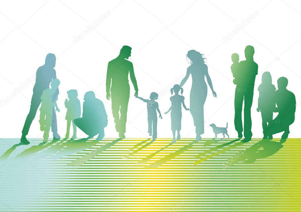 Families on the lawn stock vector