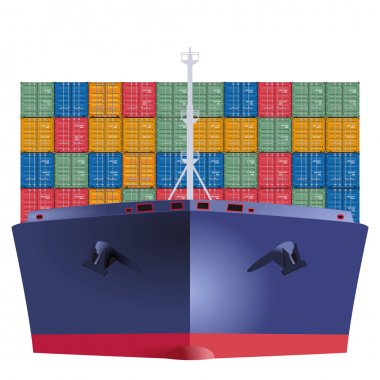 Container ship from the front