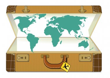 World traveling with suitcase