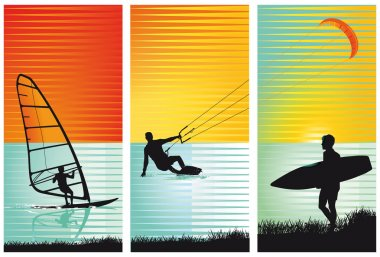 surf, surfing, kiting