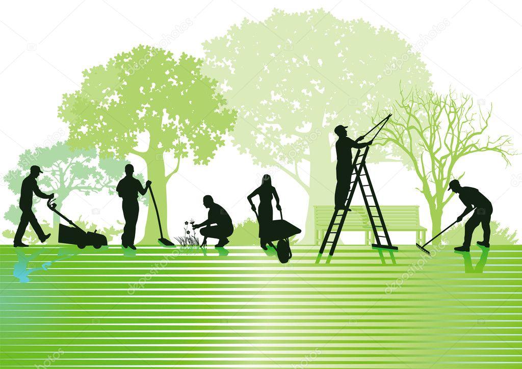 de jardinera y jardn ilustracin de stock