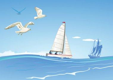 Sailboat and sailing ship