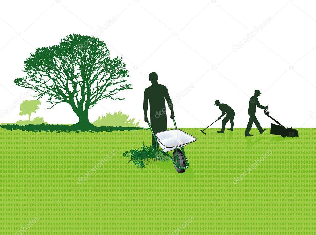 Gardener with pushcart