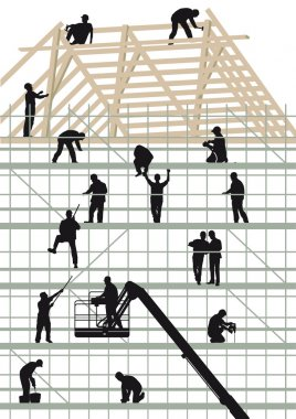 Construction workers building a house