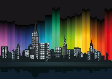 New York with colorful lights