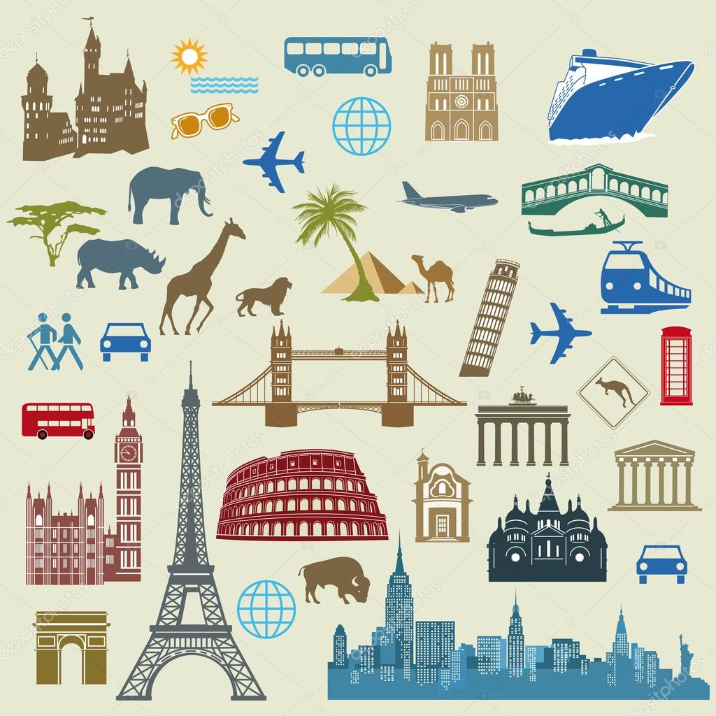 World Travel, Famous international landmarks — Stock ...