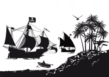 Pirate ship with tropical Pirate Island