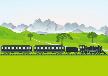 Steam train in front of mountain meadow