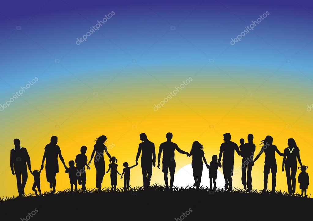 Families in Sunrise stock vector