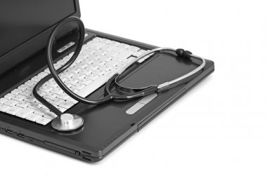 computer concept with stethoscope on laptop,