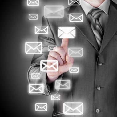 Man hand pressing mail symbol.