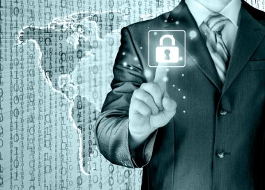Businessman selecting white padlock with world map on background stock vector